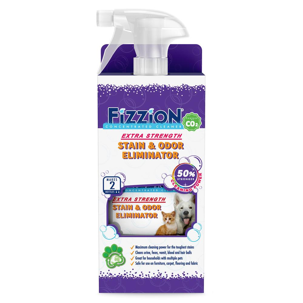 Fizzion Extra Strength Pet Stain and Odor Eliminator – 23oz bottle with Bonus Refill